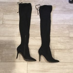 Black suede over the knee heeled boot
